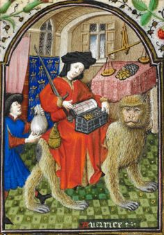 Personification of Avarice. Book of Hours, about 1439-50. Yates Thompson 3, f. 174. British Library.