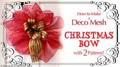 Party Ideas by Mardi Gras Outlet: DIY Christmas Bow Video: Double Bow with Deco Mesh Deco Mesh Bows, Deco Mesh Crafts, Deco Mesh Wreaths, Christmas Tree Bows, Christmas Crafts, Christmas Decorations, Burlap Bubble Wreath, Mesh Wreath Tutorial, Fancy Bows