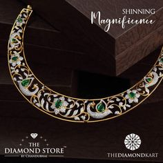 A simple and magnificent choker featuring intricately crafted, inspired by nature! Diamond finery by The Diamond Store by Chandubhai. Call us at 096764 98891 to know more. Gold Earrings Designs, Gold Jewellery Design, Necklace Designs, Diamond Jewellery, Gold Jewelry, Diamond Necklace Set, Diamond Pendant, Bridal Jewelry, Antique Jewelry
