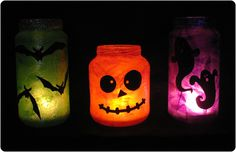 Halloween Jar Luminaries. Mod podge tissue paper to the outside of the jar, add construction paper face, bats, etc. @Shirley, who is going to make this for our Halloween party?
