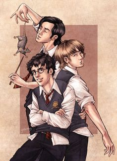 James, Remus, Sirius and Wormtail By Jenny Dolfen