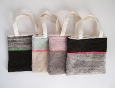 Knit striped tote bags