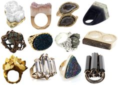 Crystal, stone and mineral rings.