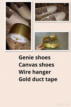 Need Genie shoes for a Shimmer or Shine costume, but can't find any. Make your own with: Canvas shoes Wire hanger Gold Duct Tape. Aladdin Play, Aladdin Musical, Genie Aladdin, Aladdin Genie Costume, Aladdin Movie, Kids Genie Costume, Jafar Costume, Jasmine Costume Kids, Arabian Party
