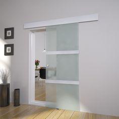 Porta scorrevole in vetro 205 x 75 cm. - Ferramenta