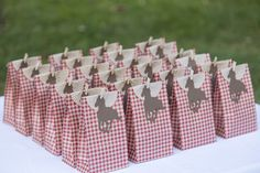 gingham bags with tan cupcake liners and horse silhouette