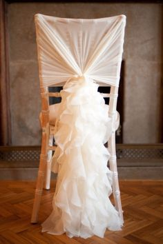Romantic Ruffles Chiffon Chair Sash u0026 Cap & Flower chair covers...really pretty#Repin By:Pinterest++ for iPad ...