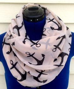 cute anchor scarf #anchors #nautical #navy #infinityscarf