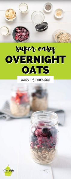 This super easy make-ahead breakfast of overnight oats with yogurt will save you time in the morning. You just need 5 minutes to prepare these easy overnight oats with Greek yogurt to spend zero time making breakfast in the morning. Just add oats, yogurt, milk, fruit, seeds, and peanut butter powder to a Mason jar or sealable bowl, pop it in the refrigerator overnight and you'll have breakfast ready to go. Overnight Oats With Yogurt, Banana Overnight Oats, Make Ahead Breakfast, Breakfast Dishes, Breakfast Ideas, Easy Meals For One, Make Ahead Meals, Yogurt Bowl, Greek Yogurt