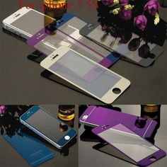 0.3mm 9h 2pcs Front+Back Mirror Colorful Tempered Glass Protective Film For iPhone 5 5s SE 6 6s Full Cover Screen Protector