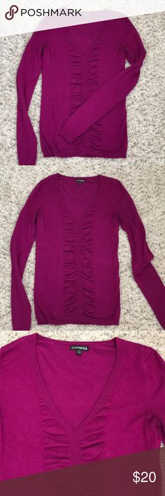 Express Ruched V-Neck Sweater Express magenta v-neck sweater, size XS. Deeper v-neck, but I was able to wear without a cami/tank top underneath. Ruched detailing down the front for a super cute addition. Very soft with some rich. Gorgeous jewel-tone magenta color that is perfect for any setting!! Gently preloved with only minor pilling. Express Sweaters V-Necks