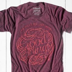 Maroon Purple Christian T Shirt with flourish and Psalm 103:5 scripture. Men's or women's Christian tee.