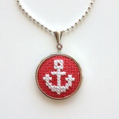 Cross Stitch Necklace with White Anchor on Red by BritterflyGarden, $14.00: