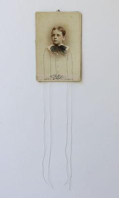 cindy steiler - antique cabinet card + thread + photo oils + brass ring + grey wool felt - forgotten no. 29