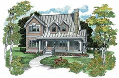 Farmhouse House Plan with 1583 Square Feet and 3 Bedrooms from Dream Home Source | House Plan Code DHSW04094