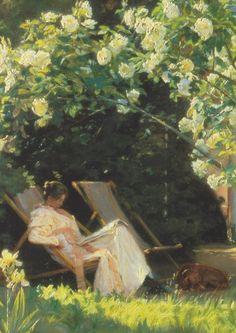 "Kroyer: Rosengarten (Die Frau des Malers im Garten in Skagen), (""Rose Garden: The Painter's Wife in their Garden in Skagen"") Skagen, Scandinavian Art, Girl Reading, Book Girl, Impressionism, Art Images, Painting & Drawing, Illustration, Sculptures"