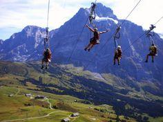 #RIDECOLORFULLY #KATESPADENY #VESPA Zipline in the Swiss Alps!