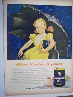 "VINTAGE ADvertising "" MORTON'S SALT"" from 1946 LIFE MAGAZINE - FULL PAGE. I have 2 Morton Salt dolls."