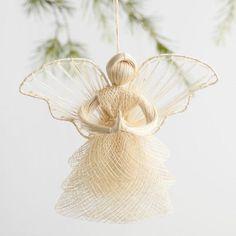 Natural Fiber Angel Ornaments Set of 2 - v1