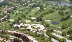 Monticello golf club. Panoramic view and club house