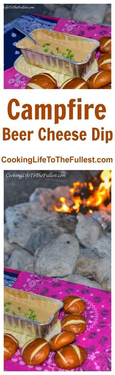 Campfire Beer Cheese Dip - Cooking Life to the Fullest - - I wanted something to snack on while we sat around the fire. Campfire Beer Cheese Dip turned out awesome. It was quick, easy & it tasted great. Camping Snacks, Camping Diy, Tent Camping, Camping Recipes, Glamping, Camping Appetizers, Family Camping, Camping Cooking, Camping Kitchen