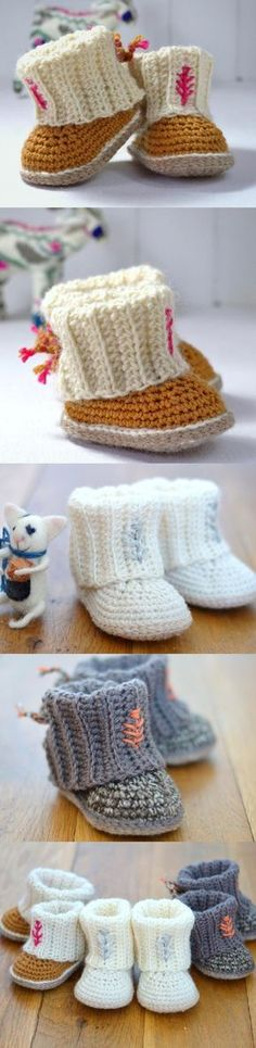 Crochet Baby Shoes Crochet Ugg Booties Pattern Free Easy Video Tutorial - You are going to love this collection of Crochet Ugg Booties Pattern Free Ideas and we have the knitted version too. Be sure to watch the video also. Crochet Boots, Crochet Baby Shoes, Crochet Baby Clothes, Crochet Slippers, Kids Slippers, Crochet Beanie, Baby Knitting Patterns, Baby Patterns, Crochet Patterns
