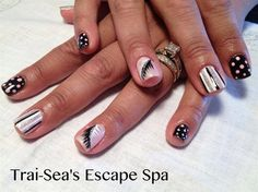 Feathers, Stripes & Dots by TraiSeasEscape - Nail Art Gallery nailartgallery.nailsmag.com by Nails Magazine www.nailsmag.com #nailart