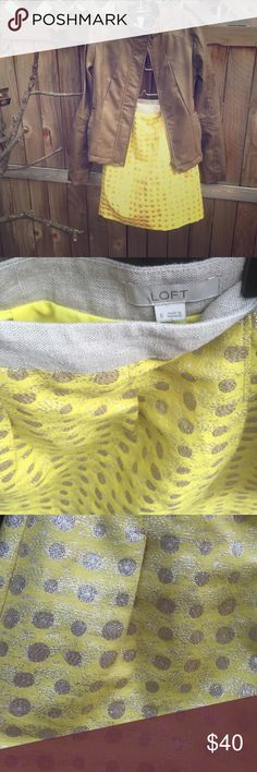 Beautiful sparkly a line skirt from Loft! Could wear to the office but fun enough to wear to a party! Yellow skirt with gold pokadots LOFT Skirts A-Line or Full