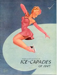 Vintage Ice-Capades Program with Pin-up Skater in Pink, illustrated by George Petty, 1947.  #1940s