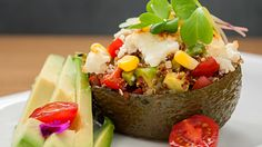 Ingredients 2 avocados 2 cups ml) quinoa, cooked ¼ cup ml) cherry tomatoes, diced ¼ cup ml) feta cheese, crumbled ¼ cup ml) corn kernels ¼ cup ml) walnuts 2 tbsp ml) lime juice, for topping Method Preheat oven to Cut an avocado in two lengthwise and […] Avocado Quinoa, Baked Avocado, Avocado Recipes, Veggie Recipes, Whole Food Recipes, Vegetarian Recipes, Cooking Recipes, Healthy Recipes, Veggie Meals