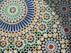 Moroccan tiles for table centre piece beneath lantern, and to use as a platter
