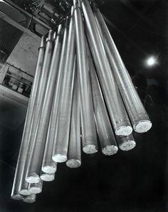 Driving Aluminium Rods at Comalco's Bell Bay Plant, Tasmania, Australia Photograph by Wolfgang Sievers. Abu Dubai, Albert Renger Patzsch, Margaret Bourke White, Lewis Hine, Copper Bar, Copper Sheets, Industrial Photography, Australian Art, Tasmania