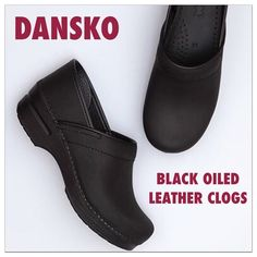 Dansko Black Leather Clogs Size 9 US and 39 EURO.  Made in all black oiled leather for a matte finish. IN GREAT CONDITION! Worn very few times. Like new! Great support and so very comfortable! I usually wear a size 8 but Dansko recommends going up a size and they fit me great! Dansko Shoes Mules & Clogs