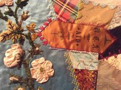 I ❤ crazy quilting & embroidery . . . Elizabeth Parkhurst Williams Crazy Quilt (1884-90) Aid Ribbon- A very rare BEAUTY. I love the overall pastel impression & softness of most tones. Although there are many vibrant jewel tones as well. All the loving artistic needlework embroidery of Mary Beatrice. Special dates, initials, musical notes on a scale, blessings symbols, cupid's hearts, roses, tulips, sunbursts, ferns & so many other interesting floral & geometric stitches.