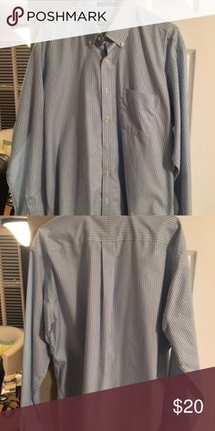 27ec020b7cf383 Men s dress shirt Light blue with navy blue stripes Size 16 1 2. Sleeve