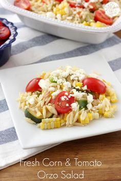 Fresh Corn and Tomato Orzo Salad Recipe from A Kitchen Addiction