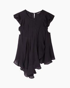 Windfall shirt Assymetric top Sheer blouse Extravagant wear Black sheer top Black assymetric jersey top