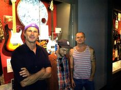 2012 Rock and Roll Hall of Fame inductees Chad Smith, Josh Klinghoffer and Flea of Red Hot Chili Peppers visited their exhibit in the Hall of Fame following their show in Cleveland on Saturday, June 2, 2012.