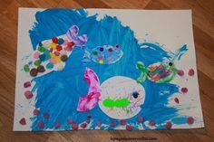 Une activité manuelle sur le thème des poissons – Tableau marin°°