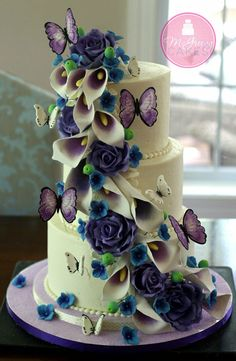 Picasso Calla Lilies, Purple Roses & Butterflies Cascade - by Shawna @ CakesDecor.com - cake decorating website