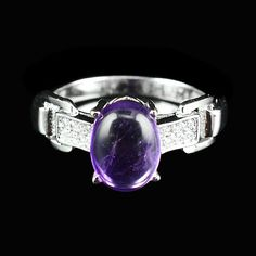 NATURAL 8X6 MM AAA TOP CLASS PURPLE AMETHYST,WHITE-CZ STERLING 925 SILVER RING #Handmade #Ring