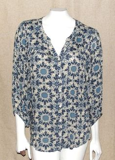 LUCKY BRAND~ABSTRACT FLORAL~3/4 DRAPERY SLEEVE~HOBO~HIPPIE~TUNIC TOP BLOUSE~M #LuckyBrand #AbstractFloralPrintPeasantHippieTopBlouse #CasualHippieHoboChicPeasantTunicTop