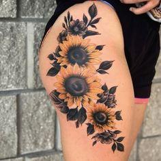Gorgeous Tattoos, Pretty Tattoos, Cute Tattoos, Unique Tattoos, Tatoos, Hip Tattoos Women, Sleeve Tattoos For Women, Sunflower Tattoo Thigh, Sunflower Tattoo Meaning