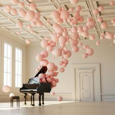 Though at first glance you'd think you were just looking at a bunch of colorful construction paper pieces neatly arranged on a blank white wall, come a lit Instalation Art, Balloon Decorations, Spring Decorations, Decoration Party, Event Decor, Oeuvre D'art, Pretty In Pink, Pretty Girls, Backdrops