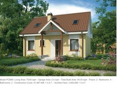 Model PCM95: Living Area: 79,80 sqm - Garage Area: 0,0 sqm - Total Build Area: 94,50 sqm - Floors: 2 - Bedrooms: 4 - Bathrooms: 2 - Construction Costs: 81,887.00€ + V.A.T. - Architect fees: 3,400.00€ + V.A.T
