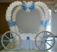 Party People Celebration Company - Special Event Decor Custom Balloon decor and Fabric Designs: Cake Table Carriage - Illinois Vacation! Cinderella Sweet 16, Cinderella Theme, Cinderella Carriage, Cinderella Birthday, Cinderella Wedding, Princess Birthday, Girl Birthday, Birthday Parties, Birthday Crowns