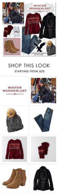 """Winter Wanderlust with American Eagle Outfitters : Contest Entry"" by drinouchou ❤ liked on Polyvore featuring American Eagle Outfitters and aeostyle"