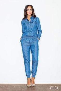 Kombinezon damski w odcieniach niebieskiego