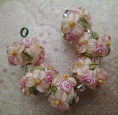 BLISS Peachy Blossoms and Rosebuds on Ivory Lampwork Bead Set