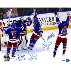 LundqvistGirardiBoyleMcDonagh Signed Celebration 16x20 Photo - Rangers Superstars have personally hand-signed this 16x20 Celebration Photo-Celebrate the New York Rangers 2013-2014 season and their first time making the Stanley Cup Final for the first time in twenty years. New York Rangers fans have anticipated this moment since their memorable and legendary run in 1994 in which they eventually went on to win it all. This New York Rangers team which is has come to be called a team of destiny…